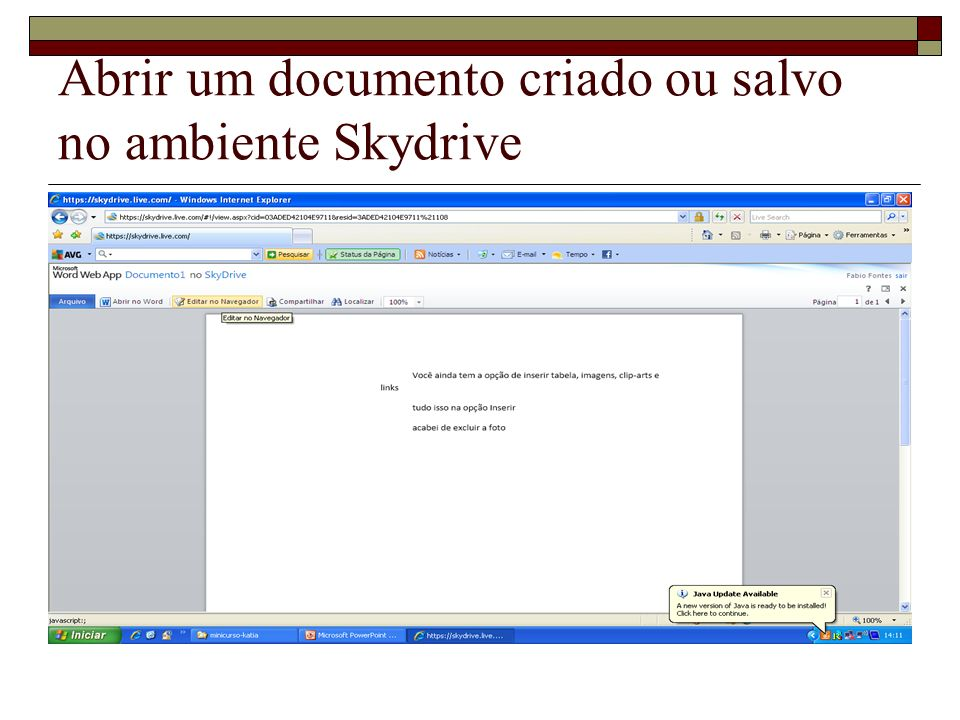 Abrir um documento criado ou salvo no ambiente Skydrive
