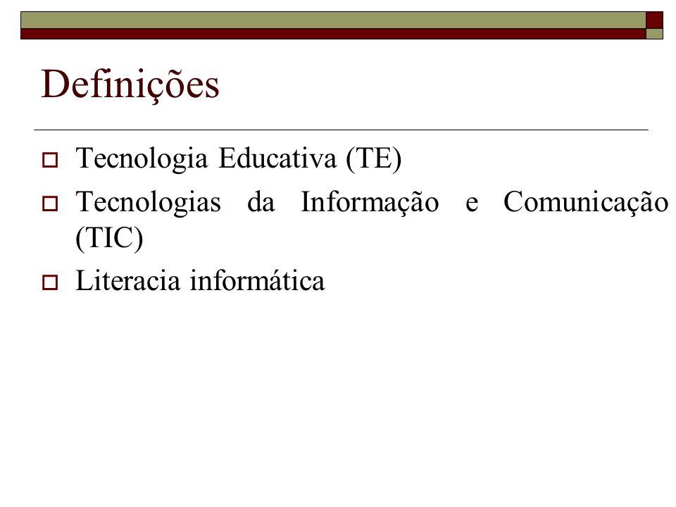 Definições Tecnologia Educativa (TE)