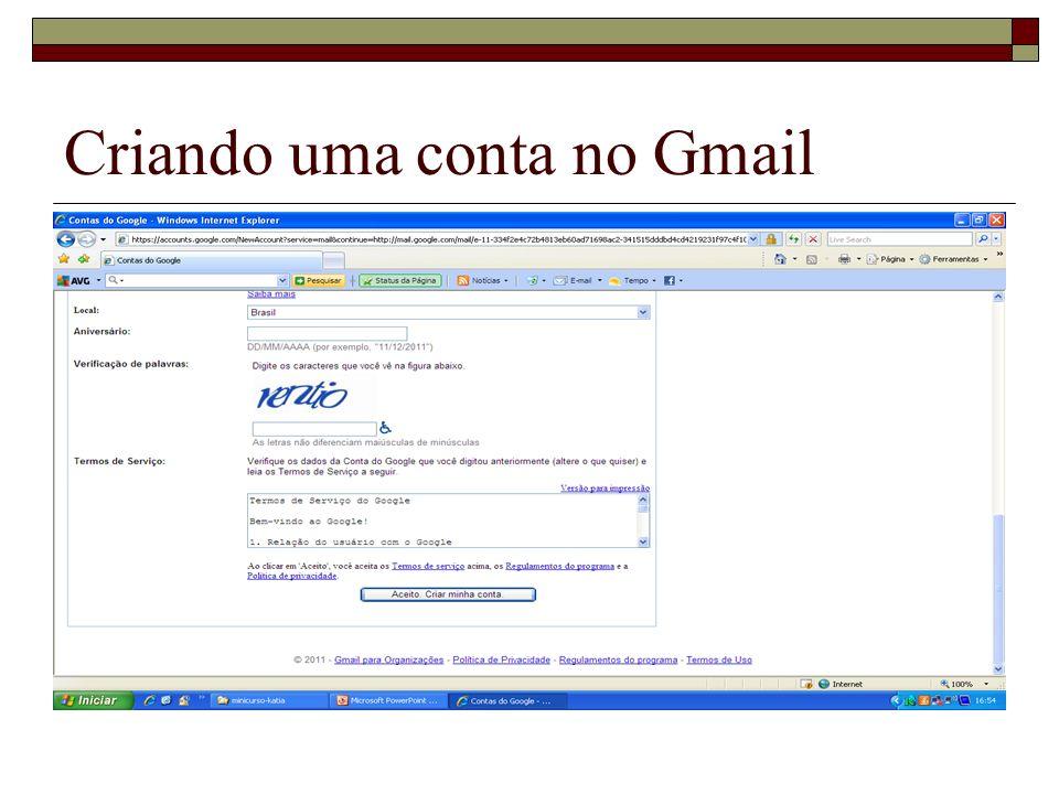 Criando uma conta no Gmail