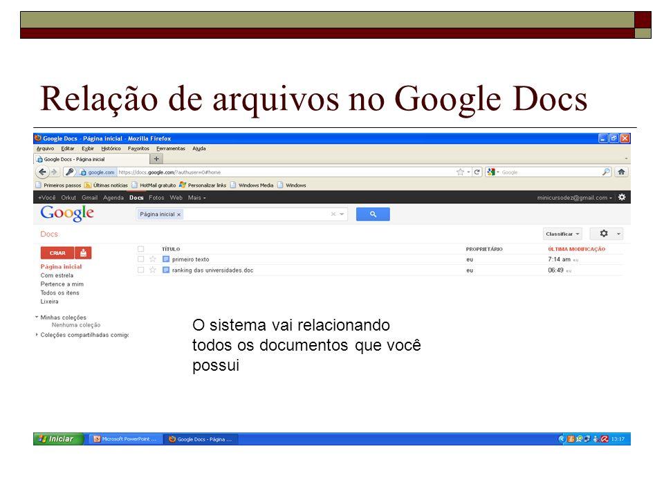 Relação de arquivos no Google Docs