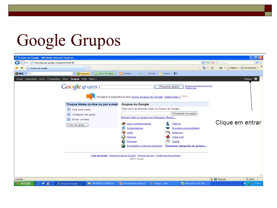 Google Grupos Clique em entrar