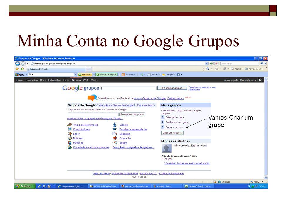 Minha Conta no Google Grupos