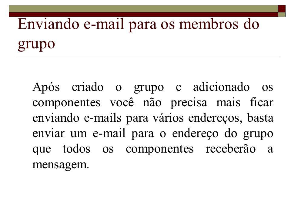 Enviando e-mail para os membros do grupo