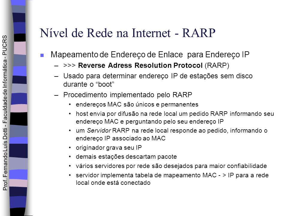 Nível de Rede na Internet - RARP