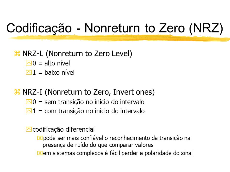 Codificação - Nonreturn to Zero (NRZ)