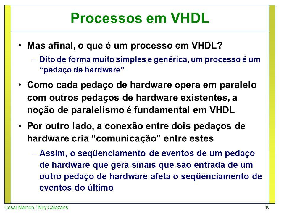 Processos em VHDL Mas afinal, o que é um processo em VHDL