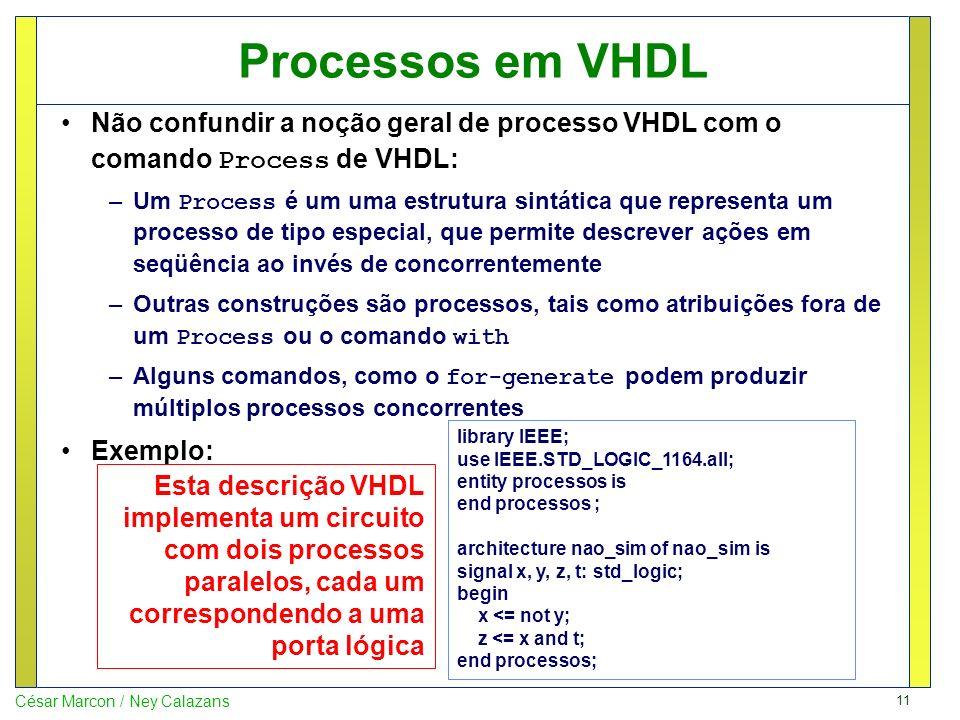 Processos em VHDL Não confundir a noção geral de processo VHDL com o comando Process de VHDL: