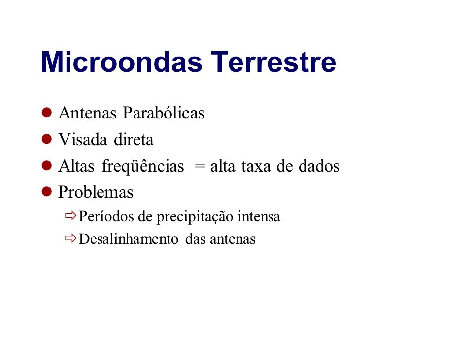 Microondas Terrestre Antenas Parabólicas Visada direta