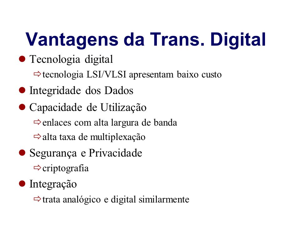 Vantagens da Trans. Digital