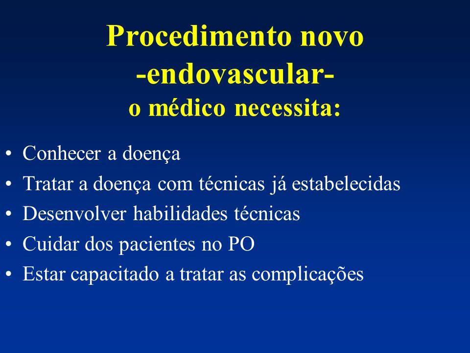 Procedimento novo -endovascular- o médico necessita: