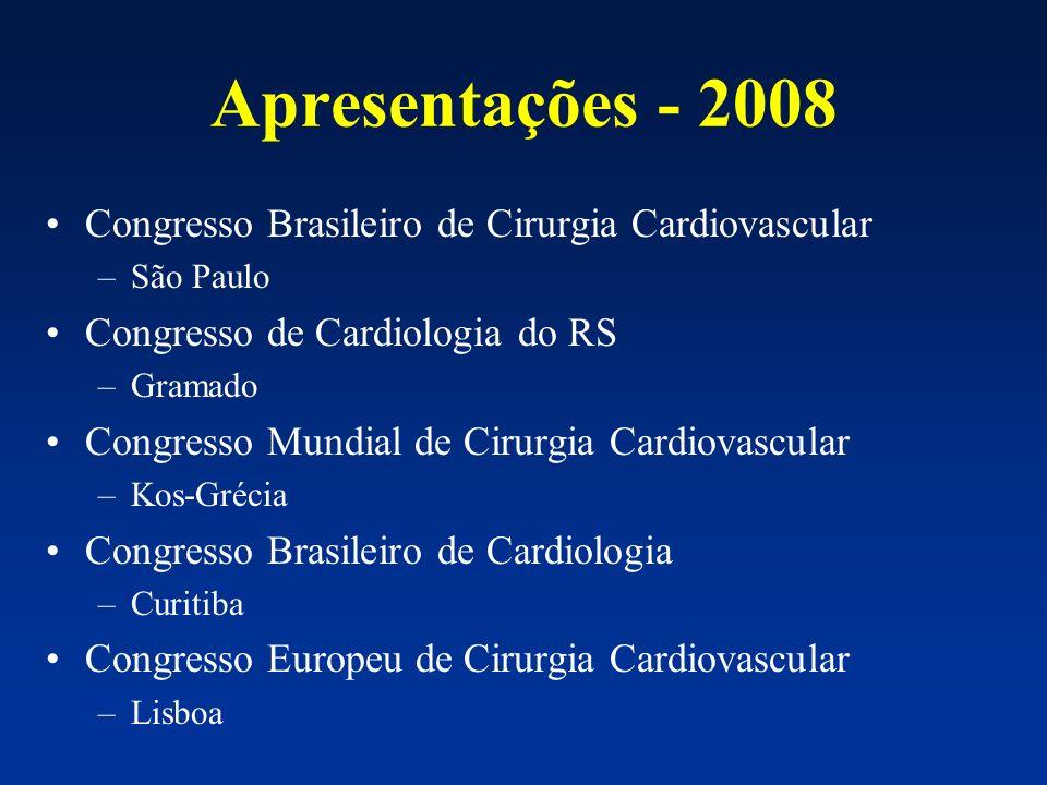 Apresentações - 2008 Congresso Brasileiro de Cirurgia Cardiovascular