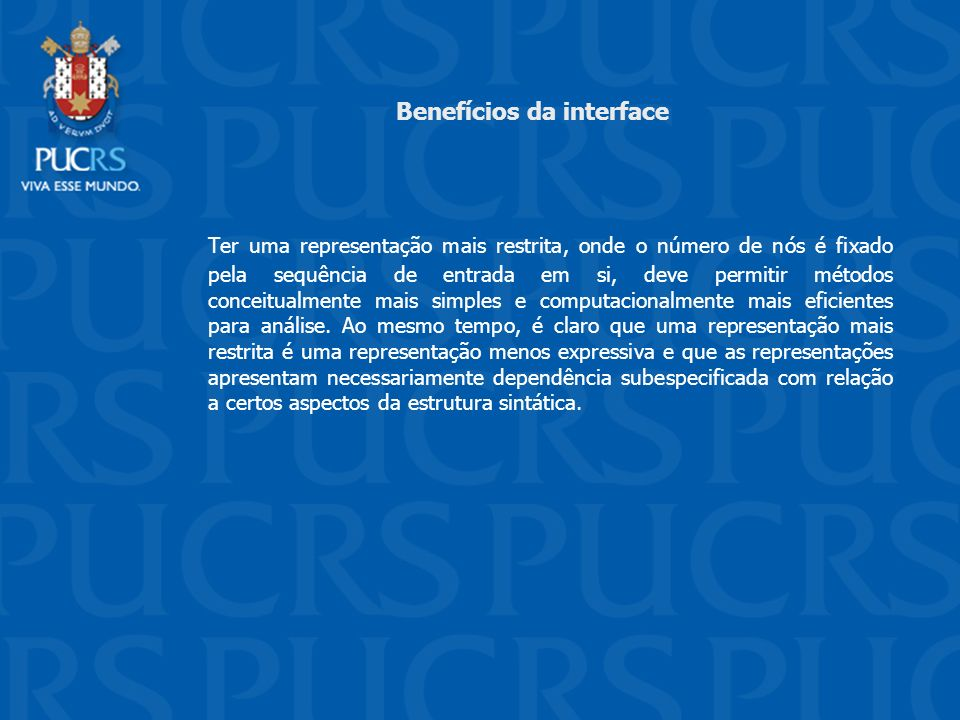 Benefícios da interface