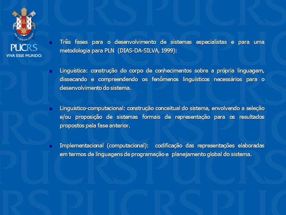 Três fases para o desenvolvimento de sistemas especialistas e para uma metodologia para PLN (DIAS-DA-SILVA, 1999):