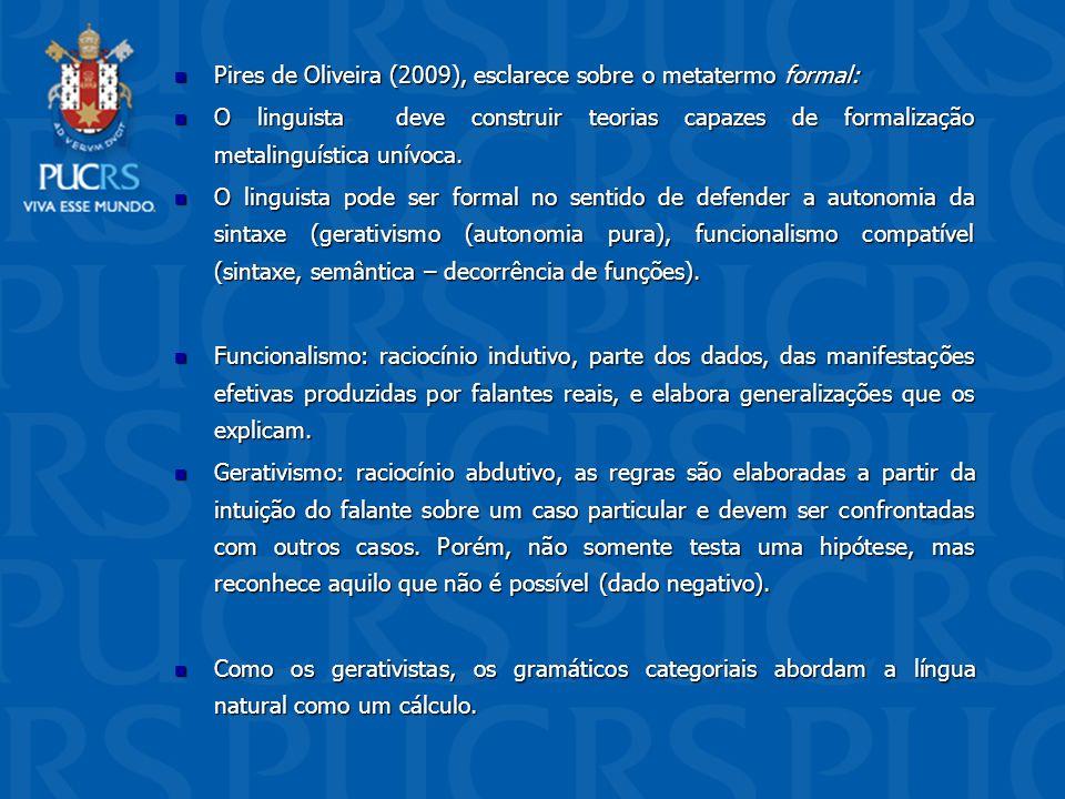 Pires de Oliveira (2009), esclarece sobre o metatermo formal: