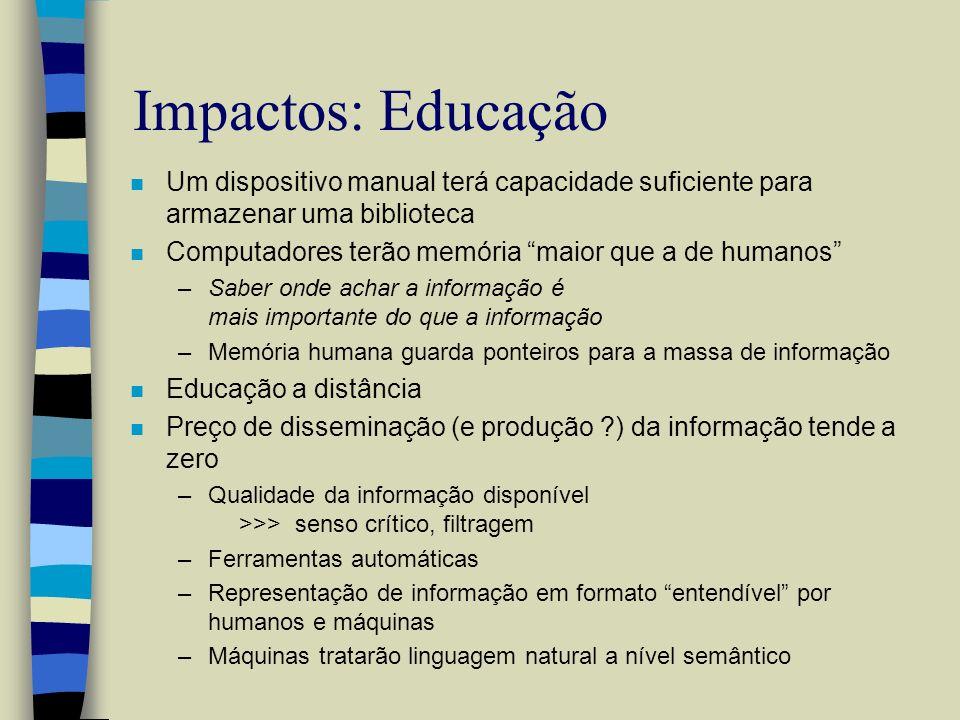Impactos: Educação Um dispositivo manual terá capacidade suficiente para armazenar uma biblioteca.