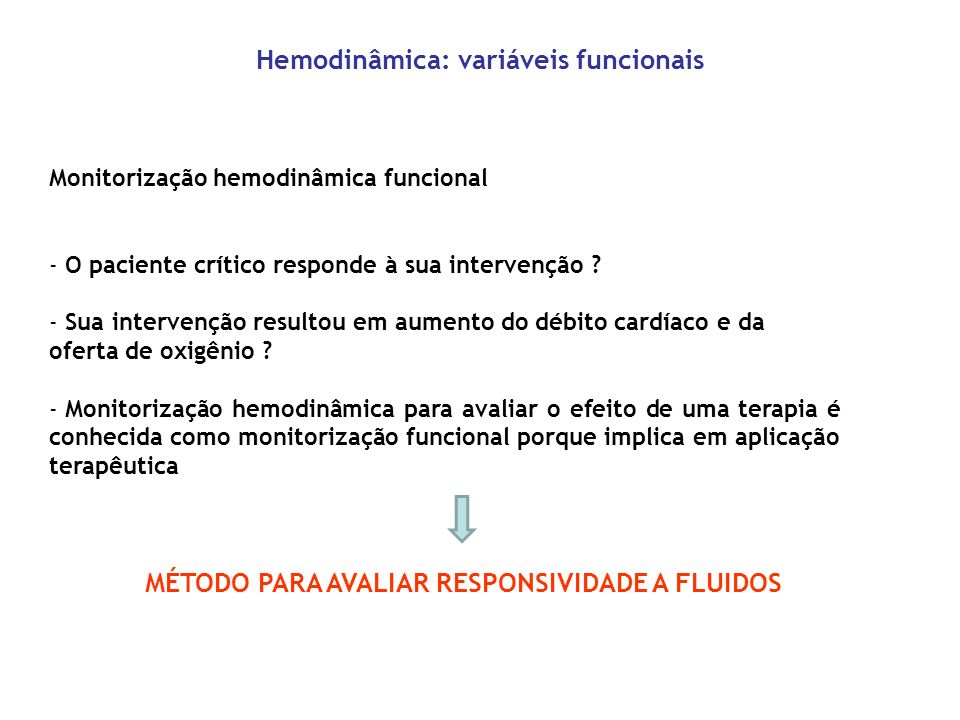 Hemodinâmica: variáveis funcionais