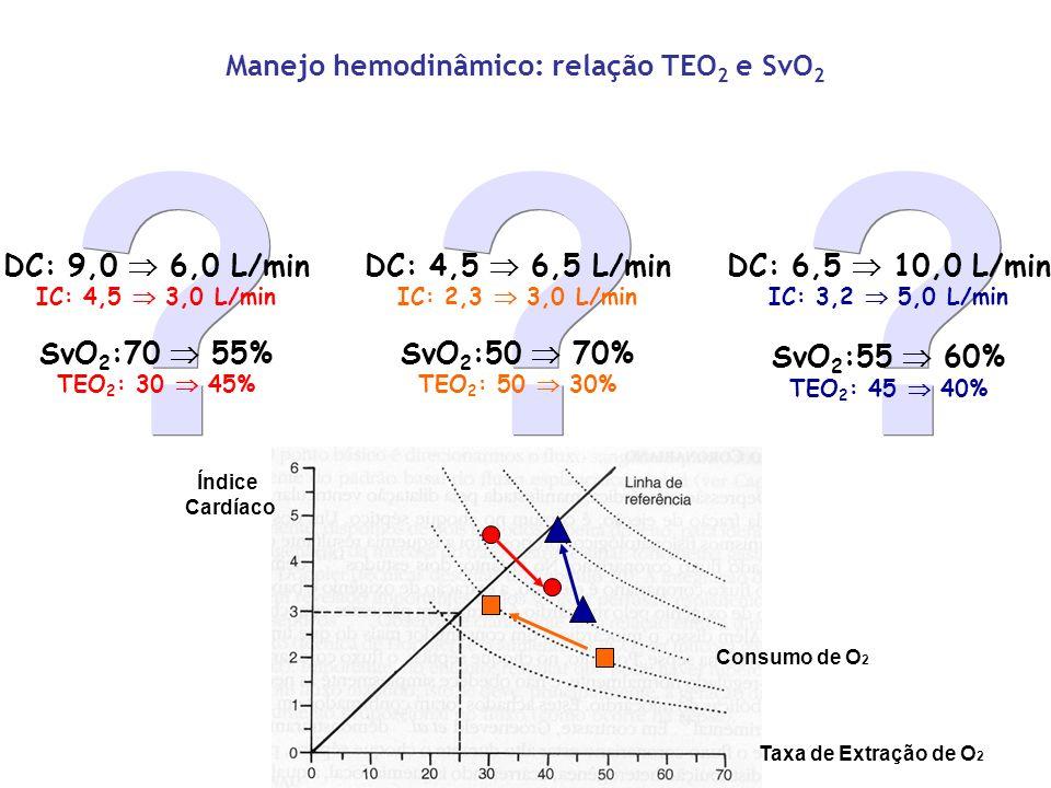 Manejo hemodinâmico: relação TEO2 e SvO2