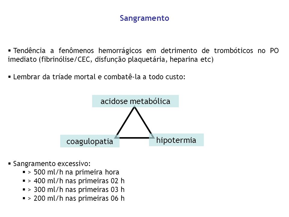 Sangramento acidose metabólica hipotermia coagulopatia