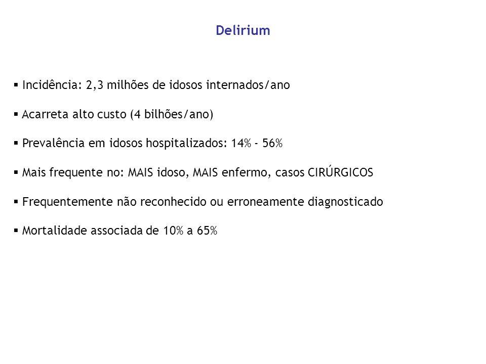 Delirium Incidência: 2,3 milhões de idosos internados/ano
