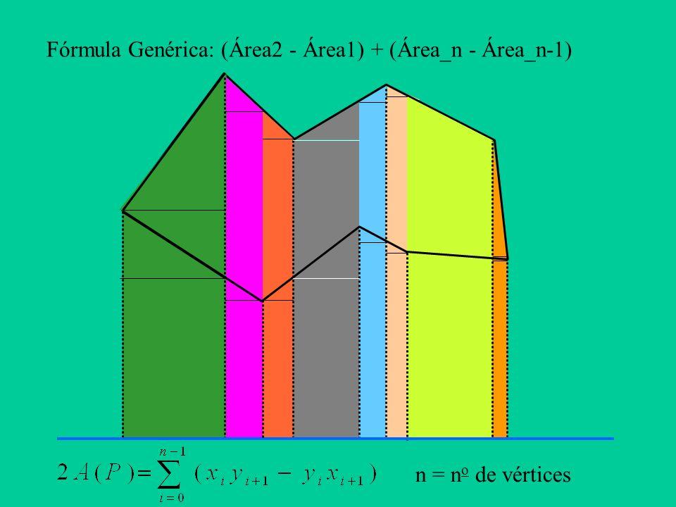 Fórmula Genérica: (Área2 - Área1) + (Área_n - Área_n-1)