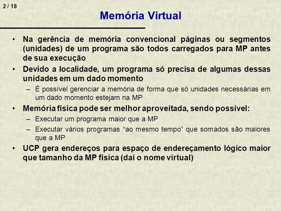 Memória Virtual Na gerência de memória convencional páginas ou segmentos (unidades) de um programa são todos carregados para MP antes de sua execução.