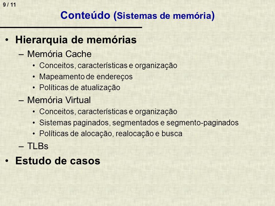 Conteúdo (Sistemas de memória)