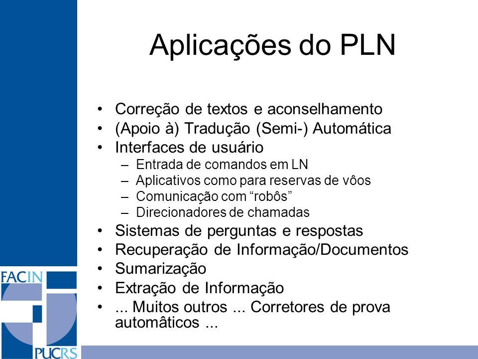 Aplicações do PLN Correção de textos e aconselhamento