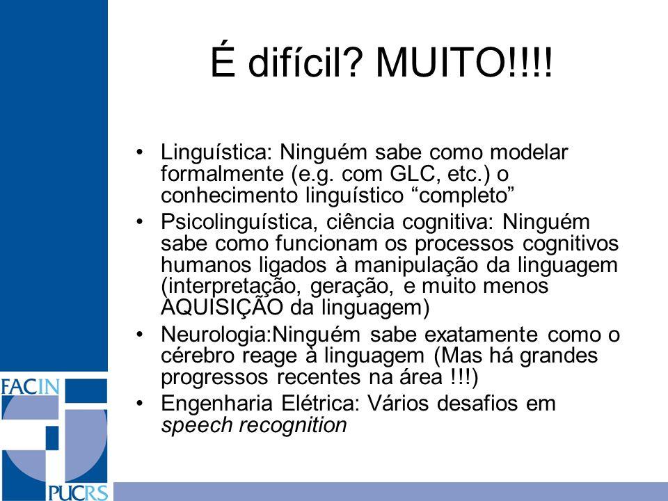 É difícil MUITO!!!! Linguística: Ninguém sabe como modelar formalmente (e.g. com GLC, etc.) o conhecimento linguístico completo