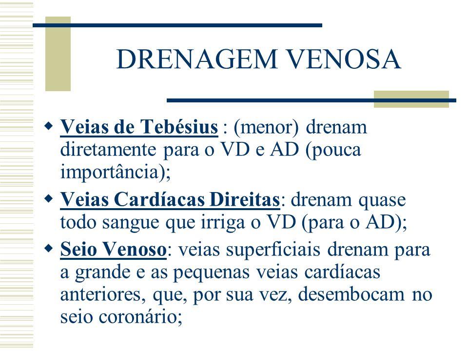 DRENAGEM VENOSA Veias de Tebésius : (menor) drenam diretamente para o VD e AD (pouca importância);