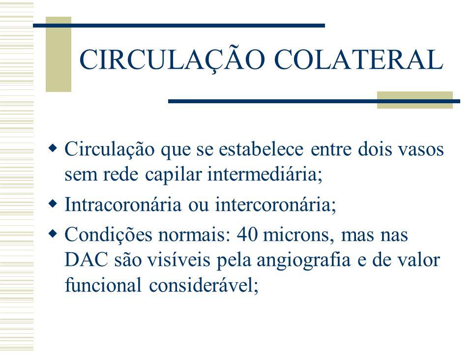 CIRCULAÇÃO COLATERAL Circulação que se estabelece entre dois vasos sem rede capilar intermediária; Intracoronária ou intercoronária;