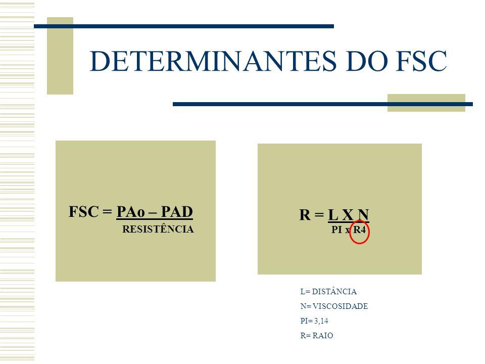DETERMINANTES DO FSC FSC = PAo – PAD R = L X N RESISTÊNCIA PI x R4