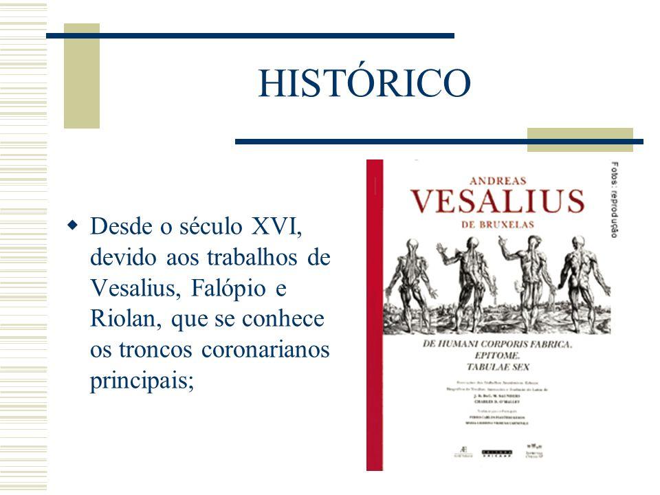 HISTÓRICODesde o século XVI, devido aos trabalhos de Vesalius, Falópio e Riolan, que se conhece os troncos coronarianos principais;