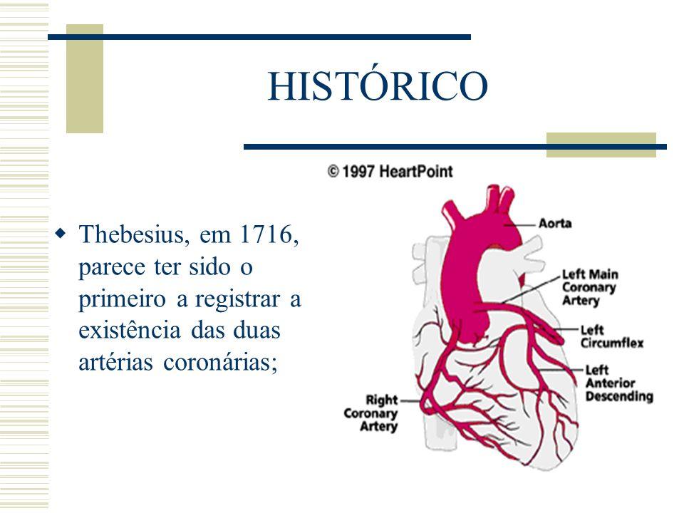 HISTÓRICO Thebesius, em 1716, parece ter sido o primeiro a registrar a existência das duas artérias coronárias;