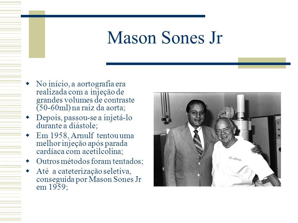Mason Sones JrNo início, a aortografia era realizada com a injeção de grandes volumes de contraste (50-60ml) na raiz da aorta;