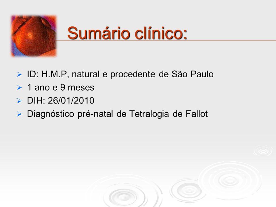 Sumário clínico: ID: H.M.P, natural e procedente de São Paulo
