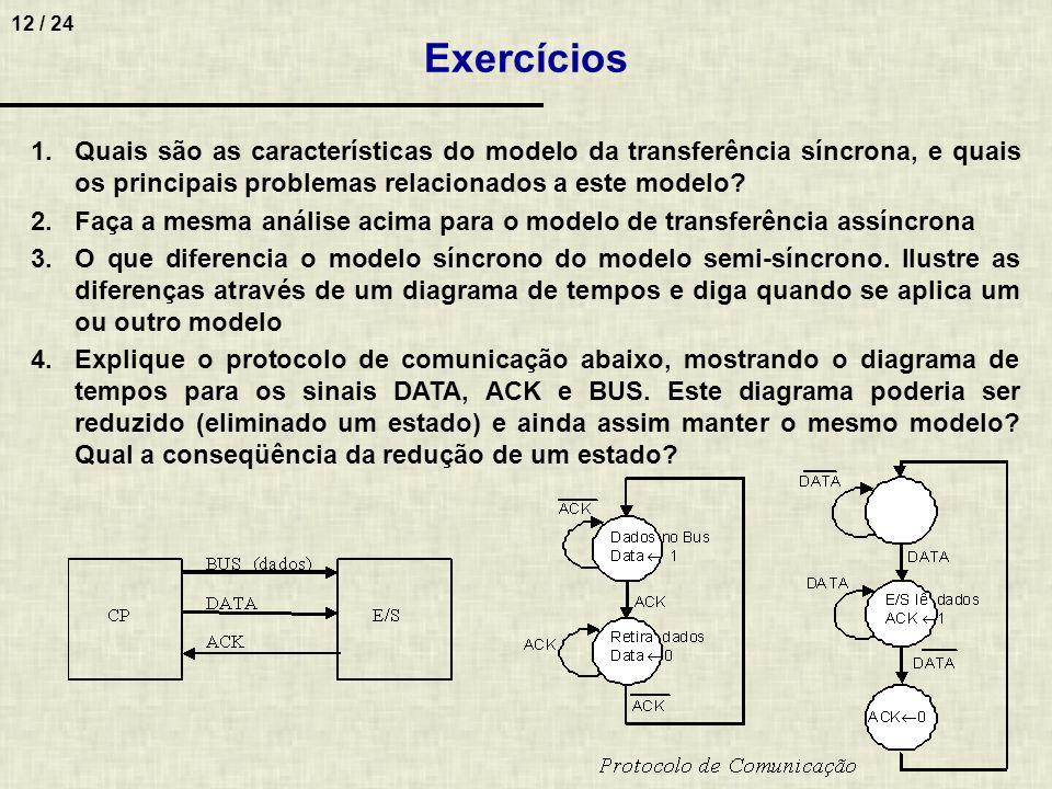 Exercícios Quais são as características do modelo da transferência síncrona, e quais os principais problemas relacionados a este modelo