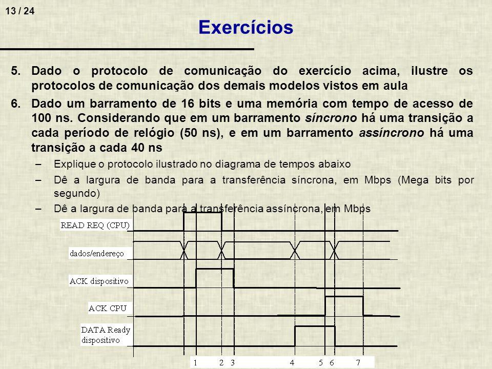 Exercícios Dado o protocolo de comunicação do exercício acima, ilustre os protocolos de comunicação dos demais modelos vistos em aula.