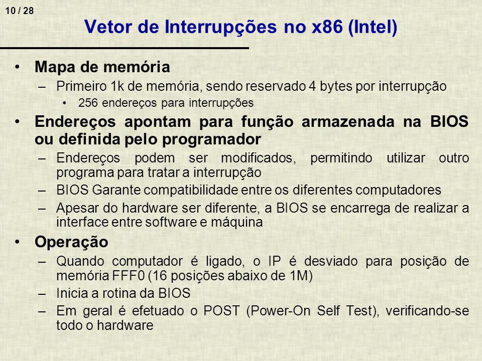 Vetor de Interrupções no x86 (Intel)