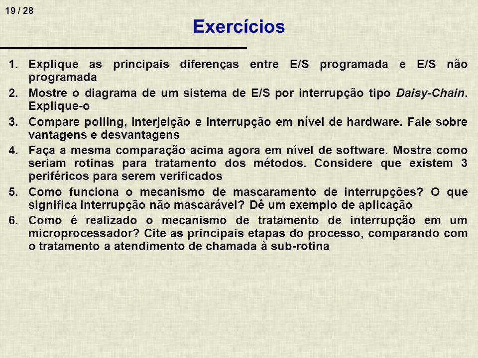 Exercícios Explique as principais diferenças entre E/S programada e E/S não programada.