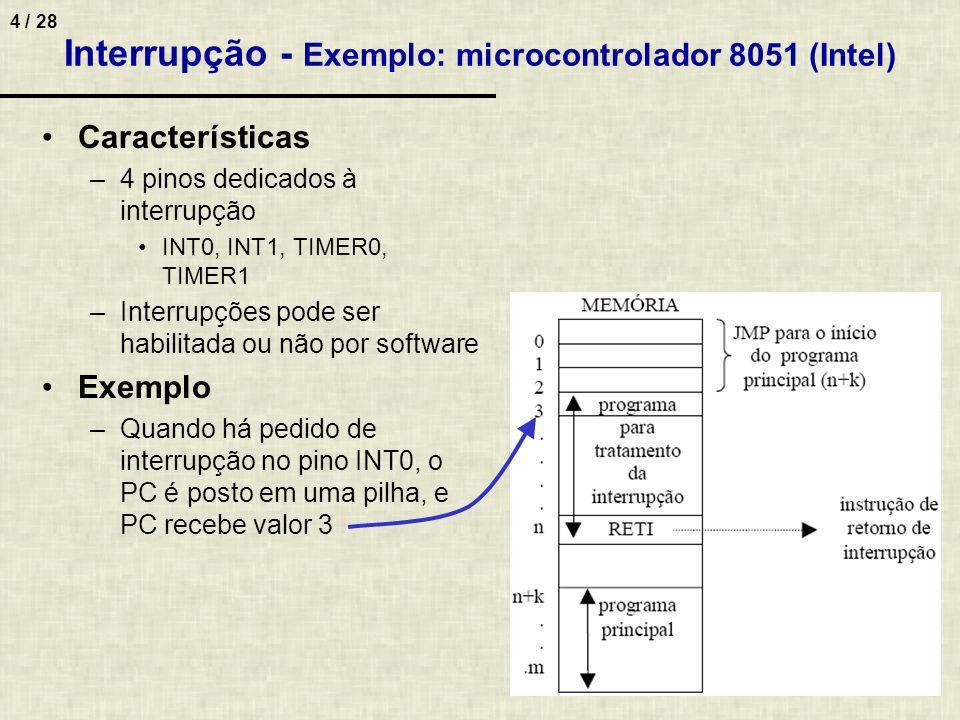 Interrupção - Exemplo: microcontrolador 8051 (Intel)