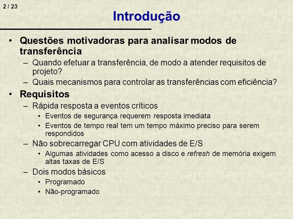 Introdução Questões motivadoras para analisar modos de transferência