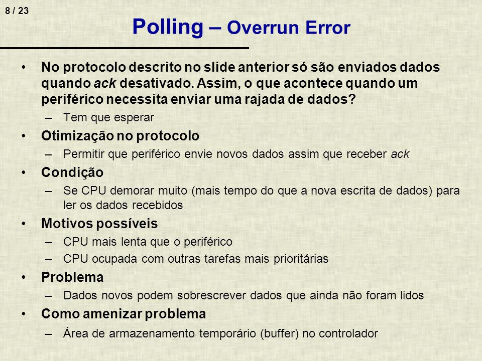Polling – Overrun Error