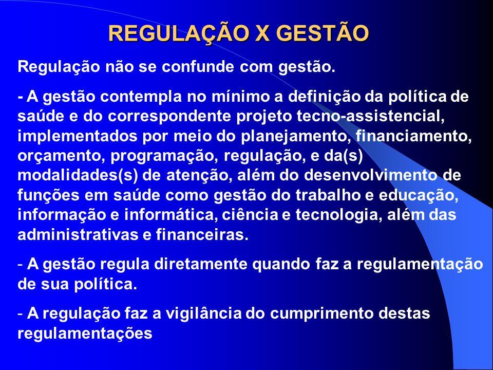 REGULAÇÃO X GESTÃO Regulação não se confunde com gestão.