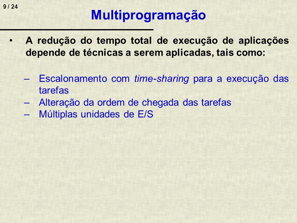 Multiprogramação A redução do tempo total de execução de aplicações depende de técnicas a serem aplicadas, tais como: