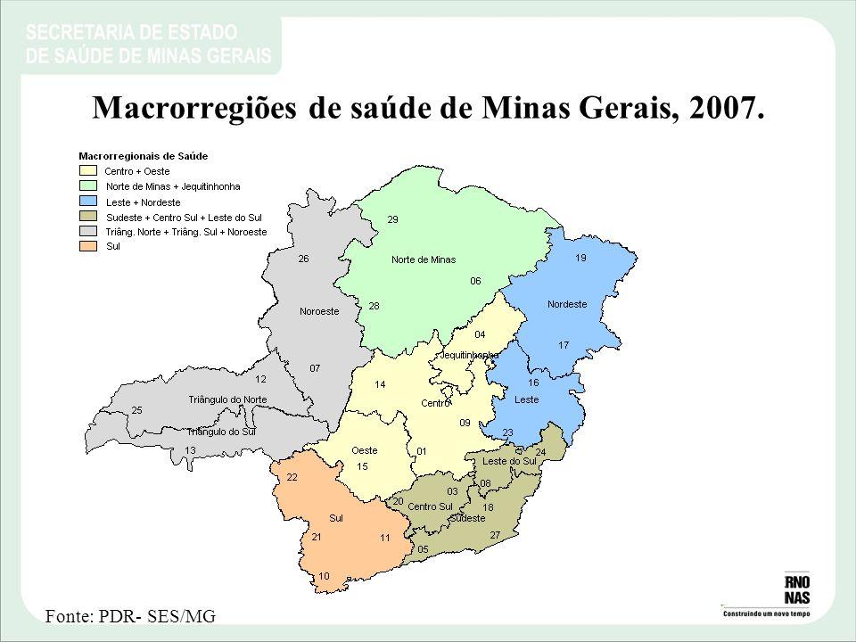 Macrorregiões de saúde de Minas Gerais, 2007.