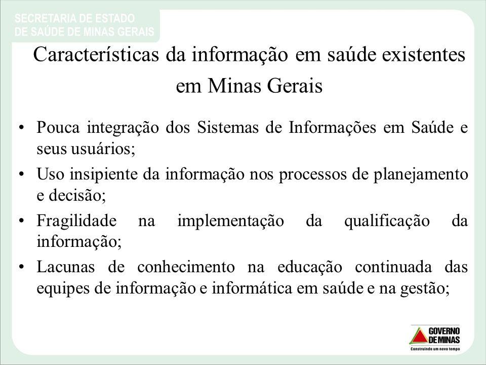 Características da informação em saúde existentes em Minas Gerais
