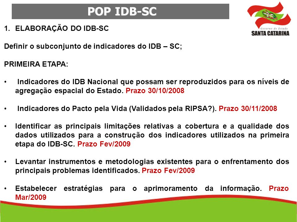 POP IDB-SC ELABORAÇÃO DO IDB-SC