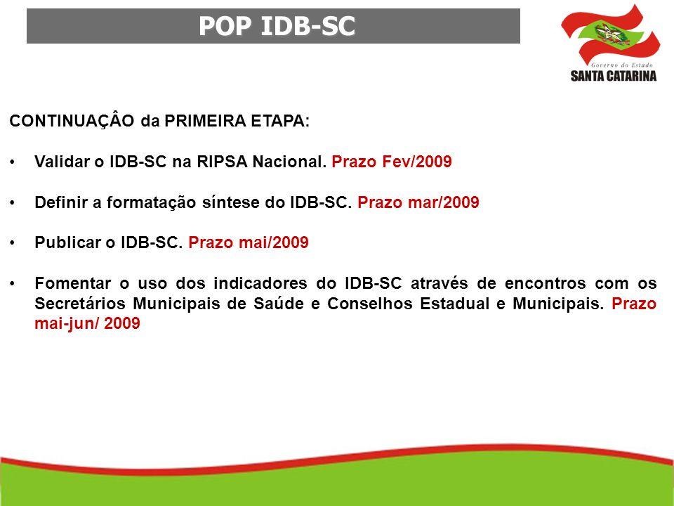 POP IDB-SC CONTINUAÇÂO da PRIMEIRA ETAPA:
