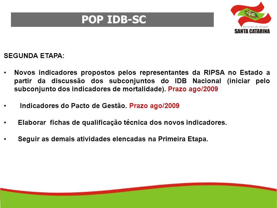 POP IDB-SC SEGUNDA ETAPA: