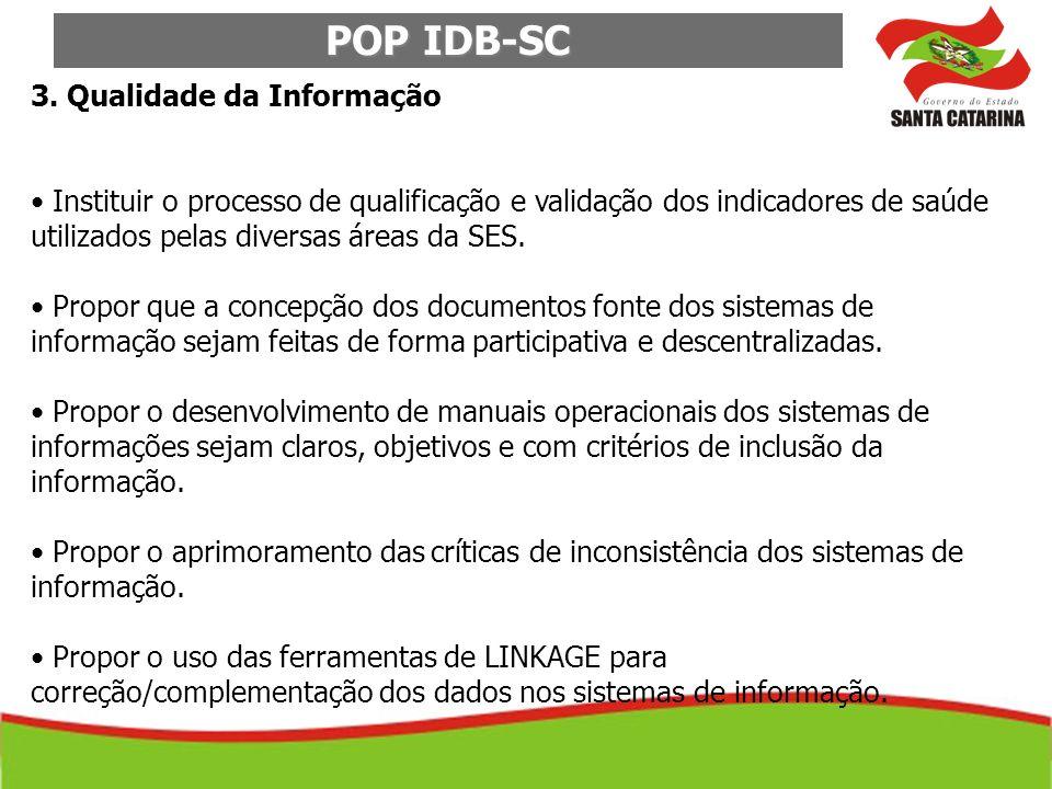 POP IDB-SC 3. Qualidade da Informação